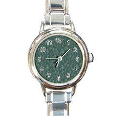 Whimsical Feather Pattern, Forest Green Round Italian Charm Watch by Zandiepants