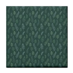 Whimsical Feather Pattern, Forest Green Tile Coaster by Zandiepants
