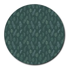 Whimsical Feather Pattern, Forest Green Round Mousepad by Zandiepants
