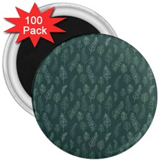 Whimsical Feather Pattern, Forest Green 3  Magnet (100 Pack) by Zandiepants