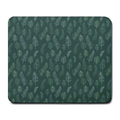 Whimsical Feather Pattern, Forest Green Large Mousepad by Zandiepants