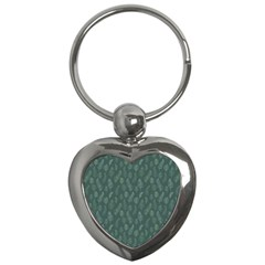 Whimsical Feather Pattern, Forest Green Key Chain (heart)