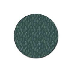 Whimsical Feather Pattern, Forest Green Rubber Coaster (round) by Zandiepants