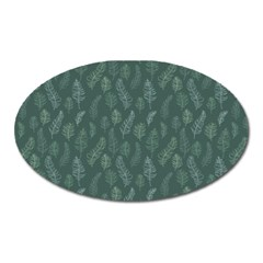 Whimsical Feather Pattern, Forest Green Magnet (oval) by Zandiepants