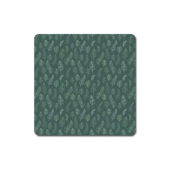 Whimsical Feather Pattern, Forest Green Magnet (square) by Zandiepants