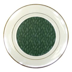 Whimsical Feather Pattern, Forest Green Porcelain Plate by Zandiepants