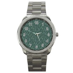 Whimsical Feather Pattern, Forest Green Sport Metal Watch by Zandiepants