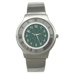 Whimsical Feather Pattern, Forest Green Stainless Steel Watch by Zandiepants