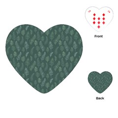 Whimsical Feather Pattern, Forest Green Playing Cards (heart) by Zandiepants
