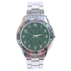 Whimsical Feather Pattern, Forest Green Stainless Steel Analogue Watch by Zandiepants