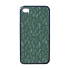 Whimsical Feather Pattern, Forest Green Apple Iphone 4 Case (black) by Zandiepants