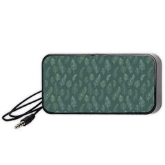 Whimsical Feather Pattern, Forest Green Portable Speaker (black) by Zandiepants