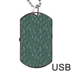 Whimsical Feather Pattern, Forest Green Dog Tag Usb Flash (two Sides) by Zandiepants