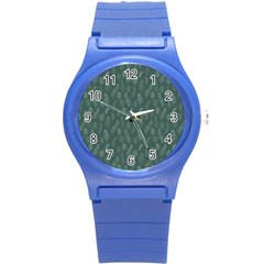 Whimsical Feather Pattern, Forest Green Round Plastic Sport Watch (s) by Zandiepants