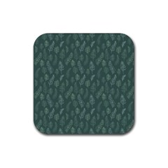 Whimsical Feather Pattern, Forest Green Rubber Square Coaster (4 Pack) by Zandiepants