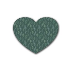 Whimsical Feather Pattern, Forest Green Heart Coaster (4 Pack) by Zandiepants