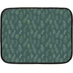 Whimsical Feather Pattern, Forest Green Fleece Blanket (mini) by Zandiepants