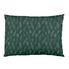 Whimsical Feather Pattern, Forest Green Pillow Case (two Sides) by Zandiepants