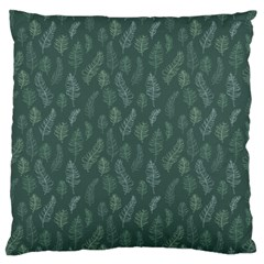 Whimsical Feather Pattern, Forest Green Large Cushion Case (one Side) by Zandiepants