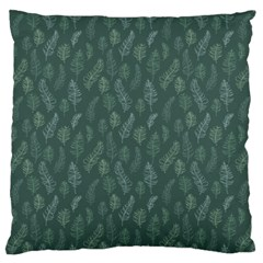 Whimsical Feather Pattern, Forest Green Large Flano Cushion Case (one Side) by Zandiepants