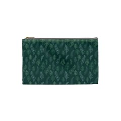 Whimsical Feather Pattern, Forest Green Cosmetic Bag (small)