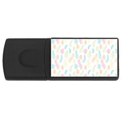 Whimsical Feather Pattern,fresh Colors, Usb Flash Drive Rectangular (4 Gb) by Zandiepants
