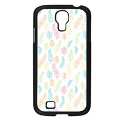 Whimsical Feather Pattern,fresh Colors, Samsung Galaxy S4 I9500/ I9505 Case (black) by Zandiepants