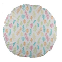 Whimsical Feather Pattern,fresh Colors, Large 18  Premium Round Cushion  by Zandiepants