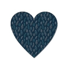 Whimsical Feather Pattern, Midnight Blue, Magnet (heart) by Zandiepants