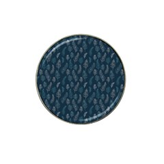 Whimsical Feather Pattern, Midnight Blue, Hat Clip Ball Marker (4 Pack) by Zandiepants