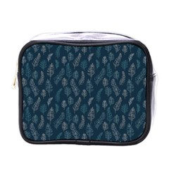 Whimsical Feather Pattern, Midnight Blue, Mini Toiletries Bag (one Side) by Zandiepants