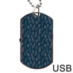 Whimsical Feather Pattern, Midnight Blue, Dog Tag Usb Flash (two Sides) by Zandiepants