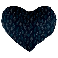 Whimsical Feather Pattern, Midnight Blue, Large 19  Premium Heart Shape Cushion by Zandiepants