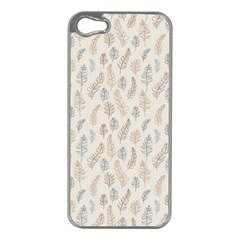 Whimsical Feather Pattern, Nature Brown, Apple Iphone 5 Case (silver) by Zandiepants