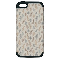 Whimsical Feather Pattern, Nature Brown, Apple Iphone 5 Hardshell Case (pc+silicone) by Zandiepants