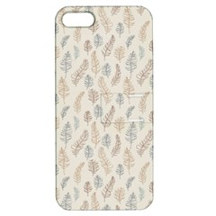 Whimsical Feather Pattern, Nature Brown, Apple Iphone 5 Hardshell Case With Stand by Zandiepants