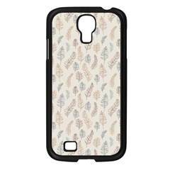 Whimsical Feather Pattern, Nature Brown, Samsung Galaxy S4 I9500/ I9505 Case (black) by Zandiepants