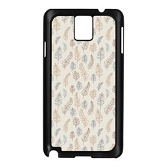 Whimsical Feather Pattern, Nature Brown, Samsung Galaxy Note 3 N9005 Case (black) by Zandiepants
