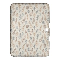Whimsical Feather Pattern, Nature Brown, Samsung Galaxy Tab 4 (10 1 ) Hardshell Case  by Zandiepants