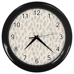 Whimsical Feather Pattern, Nature Brown, Wall Clock (black) by Zandiepants