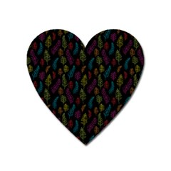 Whimsical Feather Pattern, Bright Pink Red Blue Green Yellow, Magnet (heart) by Zandiepants