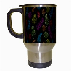 Whimsical Feather Pattern, Bright Pink Red Blue Green Yellow, Travel Mug (white) by Zandiepants
