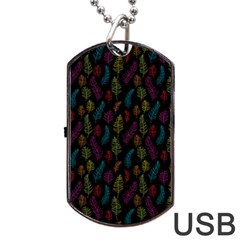 Whimsical Feather Pattern, Bright Pink Red Blue Green Yellow, Dog Tag Usb Flash (two Sides) by Zandiepants