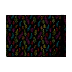 Whimsical Feather Pattern, Bright Pink Red Blue Green Yellow, Apple Ipad Mini Flip Case by Zandiepants