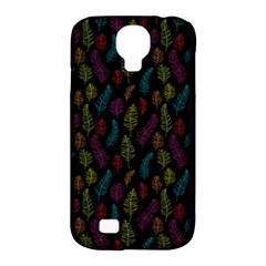 Whimsical Feather Pattern, Bright Pink Red Blue Green Yellow, Samsung Galaxy S4 Classic Hardshell Case (pc+silicone) by Zandiepants