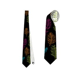 Whimsical Feather Pattern, Bright Pink Red Blue Green Yellow, Necktie (two Side) by Zandiepants