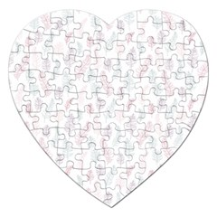 Whimsical Feather Pattern, Soft Colors, Jigsaw Puzzle (heart) by Zandiepants