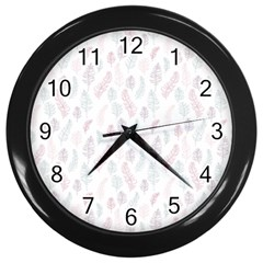Whimsical Feather Pattern, Soft Colors, Wall Clock (black) by Zandiepants