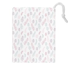 Whimsical Feather Pattern, Soft Colors, Drawstring Pouch (xxl) by Zandiepants