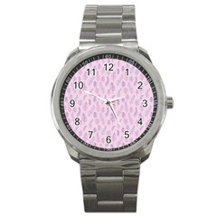 Whimsical Feather Pattern, Pink & Purple, Sport Metal Watch by Zandiepants
